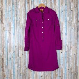 Tory Burch 4 Purple Twill Brigitte Shirt Dress